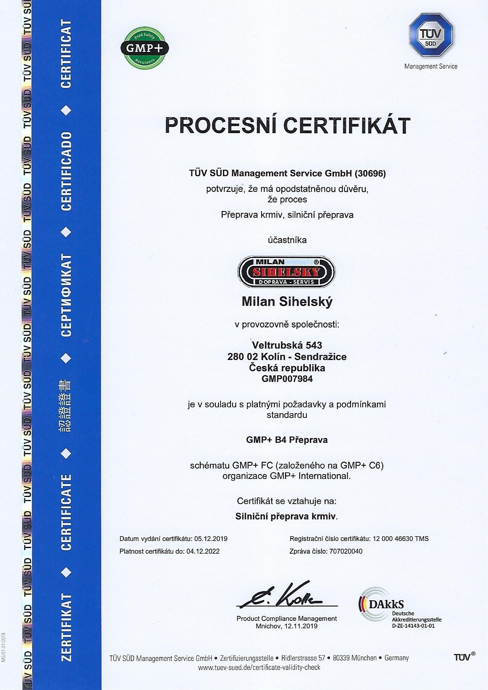 Milan Sihelský   Procesní certifikát